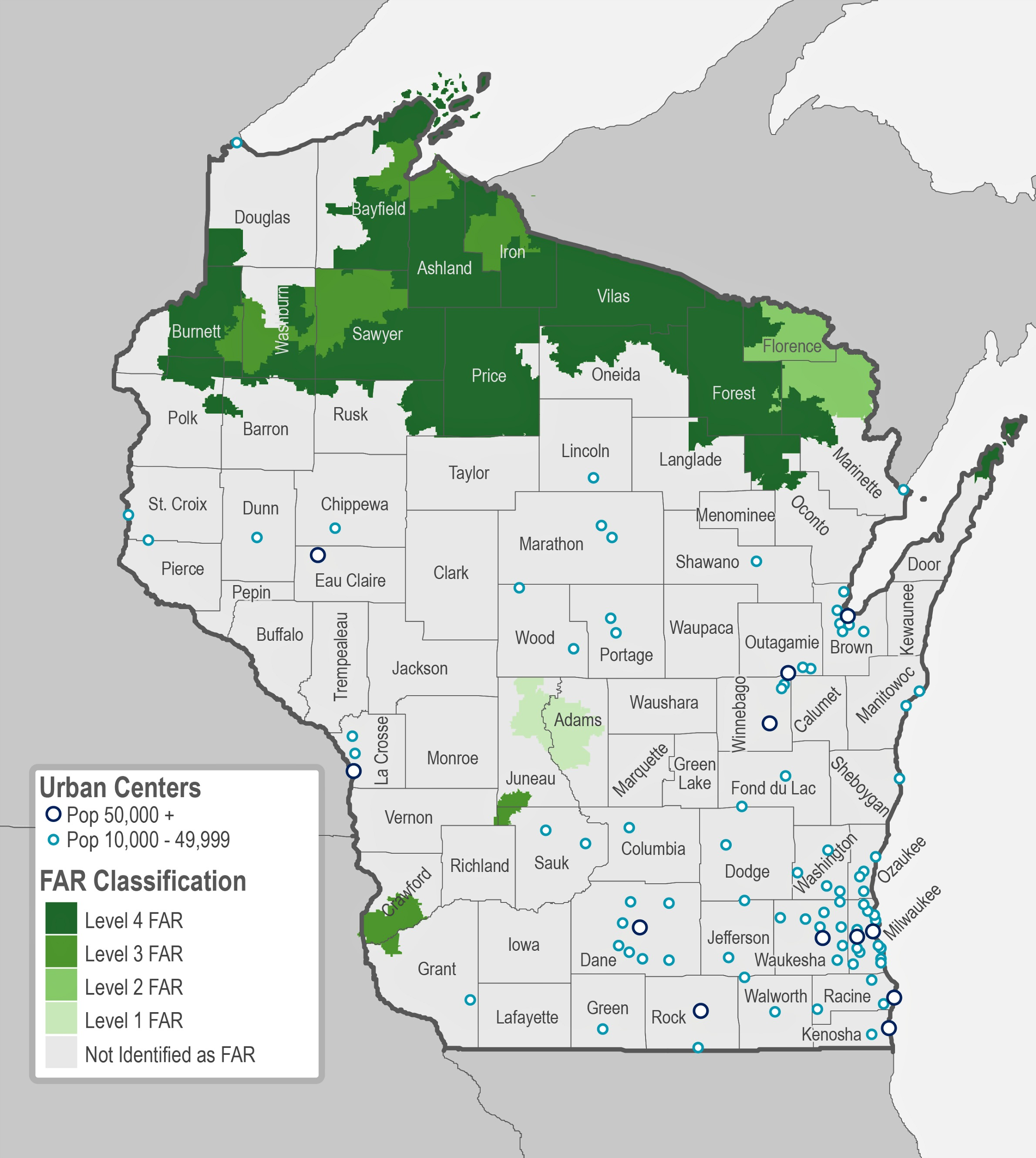 Putting Rural Wisconsin On The Map WGLT - Map of rural areas in us