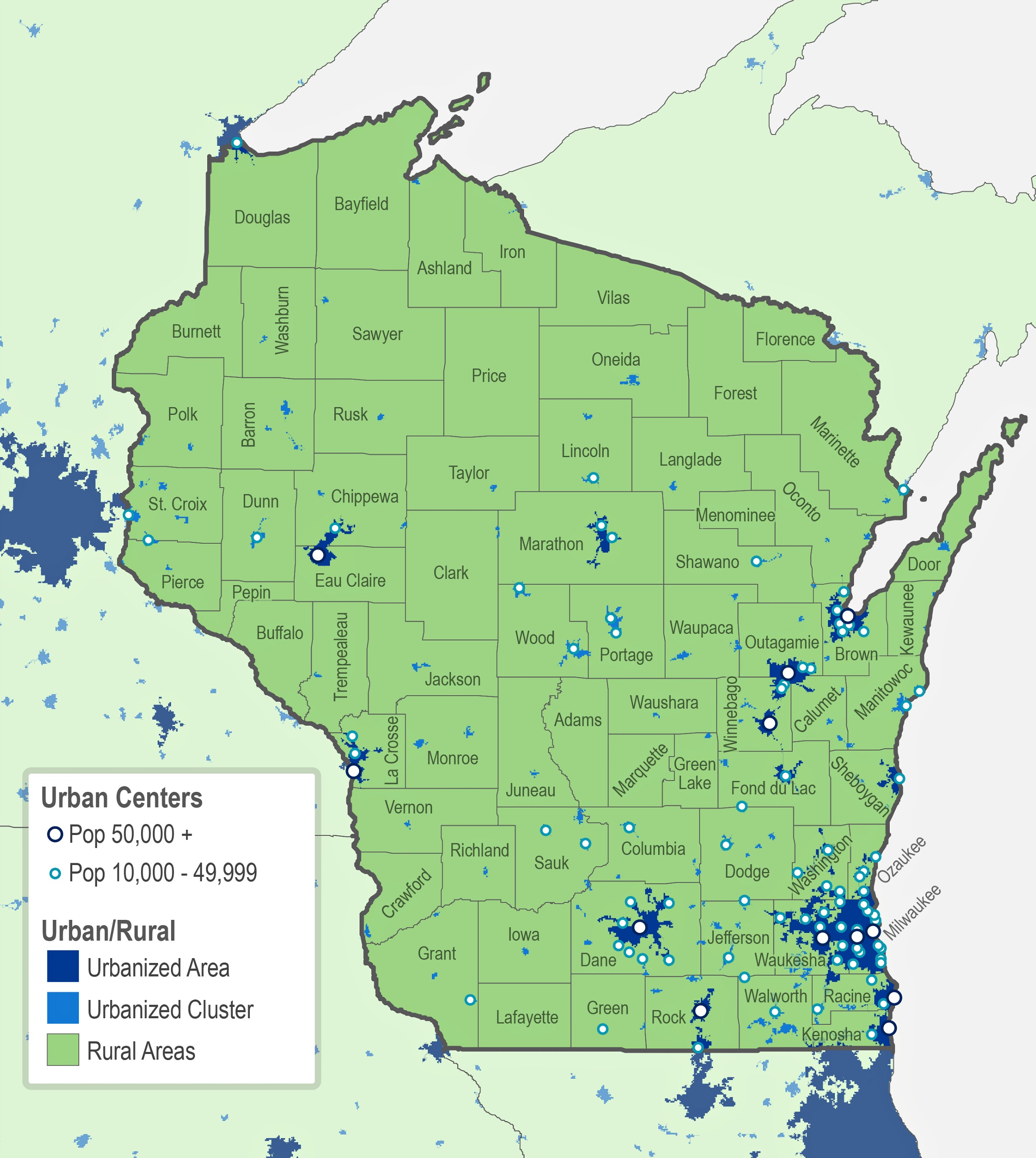 Putting Rural Wisconsin On The Map WGLT - Wisconsin on a us map