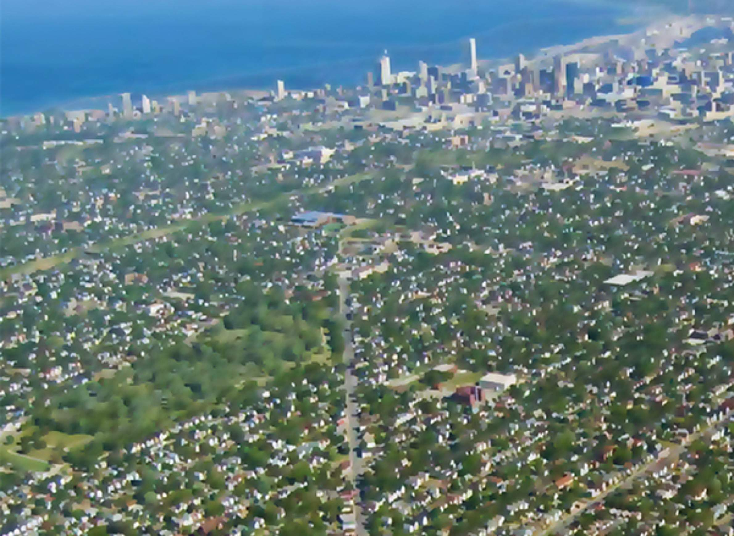 Aerial view of Milwaukee, looking southeast