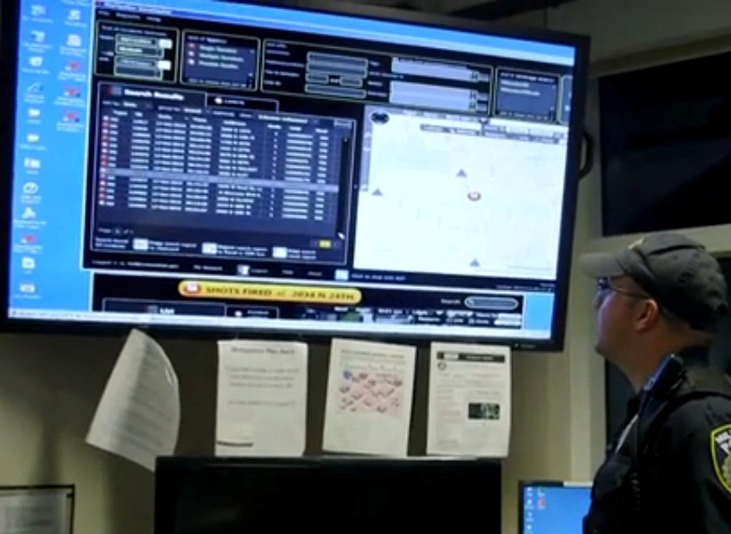 ShotSpotter screen in MPD dispatch center