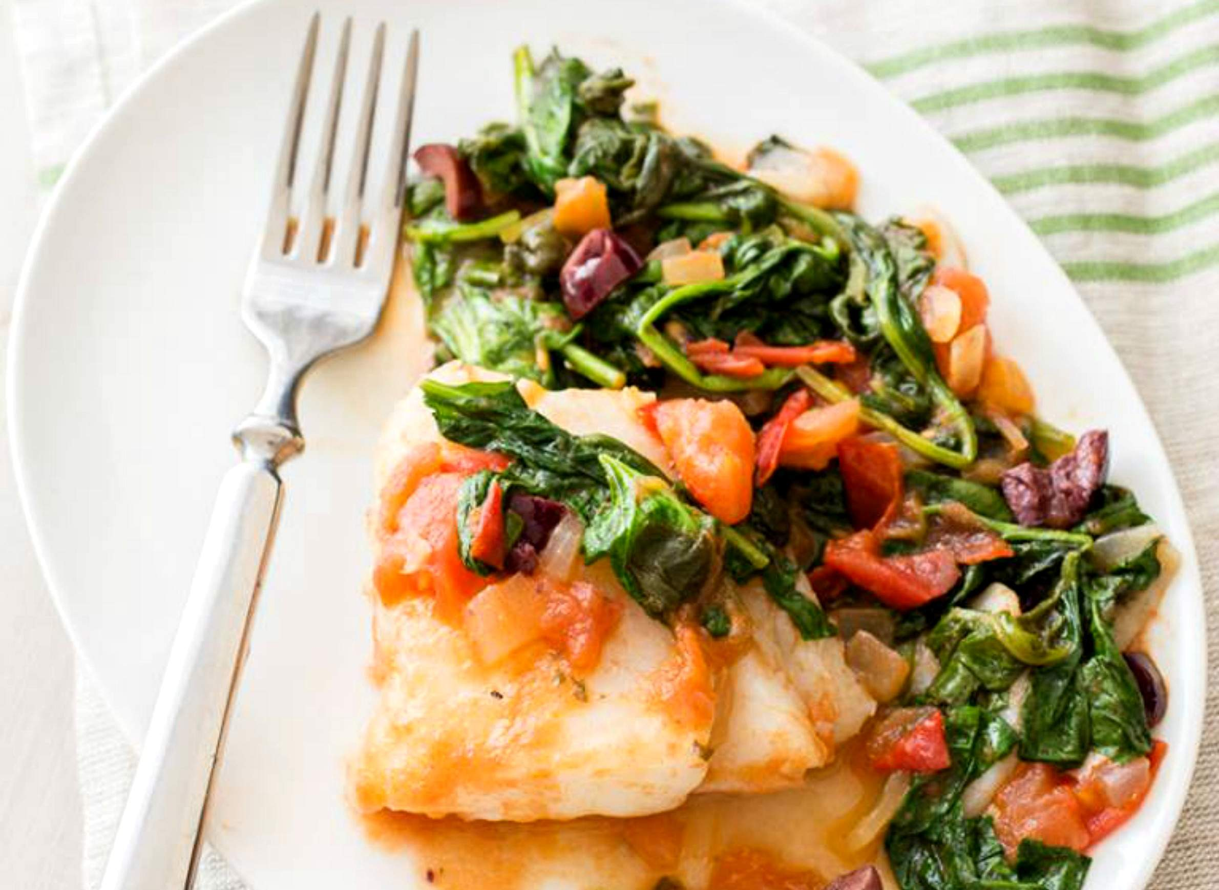 Fish with spinach